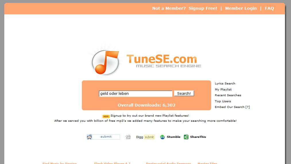 TuneSE.com: music search engine | Maxiorel.com