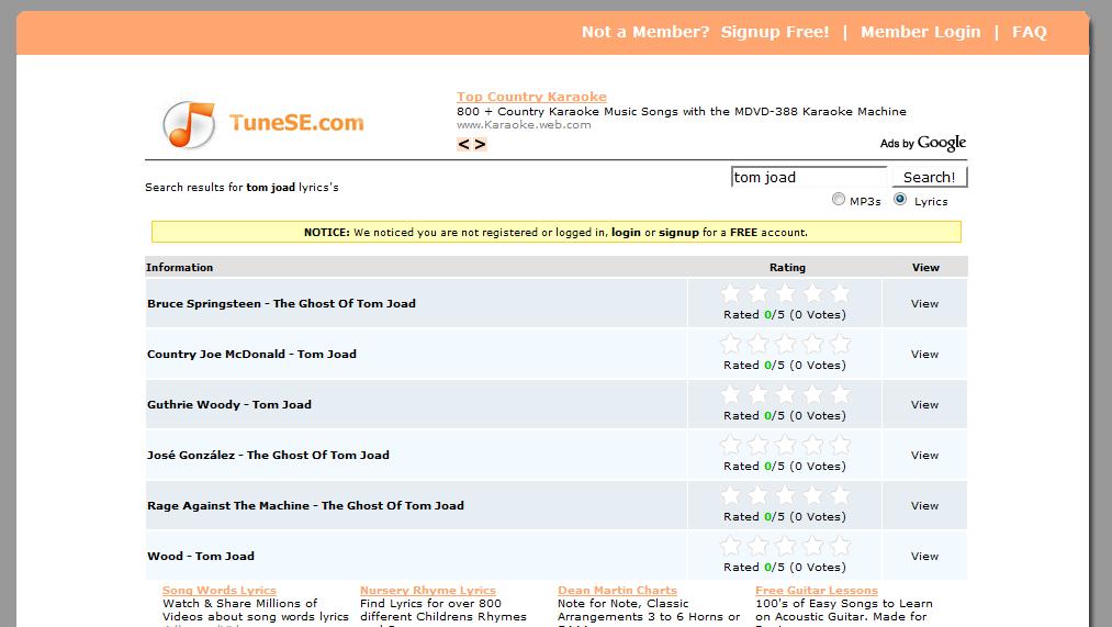 Lyric song lyric search engine : TuneSE.com: music search engine | Maxiorel.com