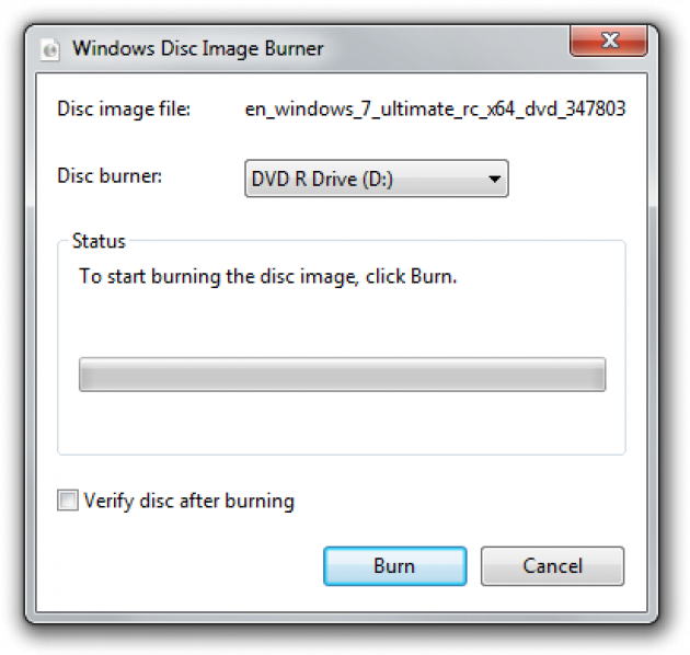 Burn the ISO image in Windows 7