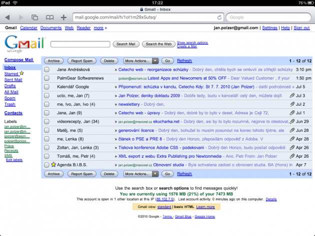 Classic Gmail on iPad