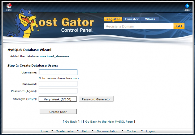 Setting up a database in the HostGator administration