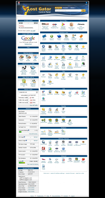 The HostGator administrative interface