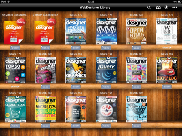 Web Designer Mags library on iPad
